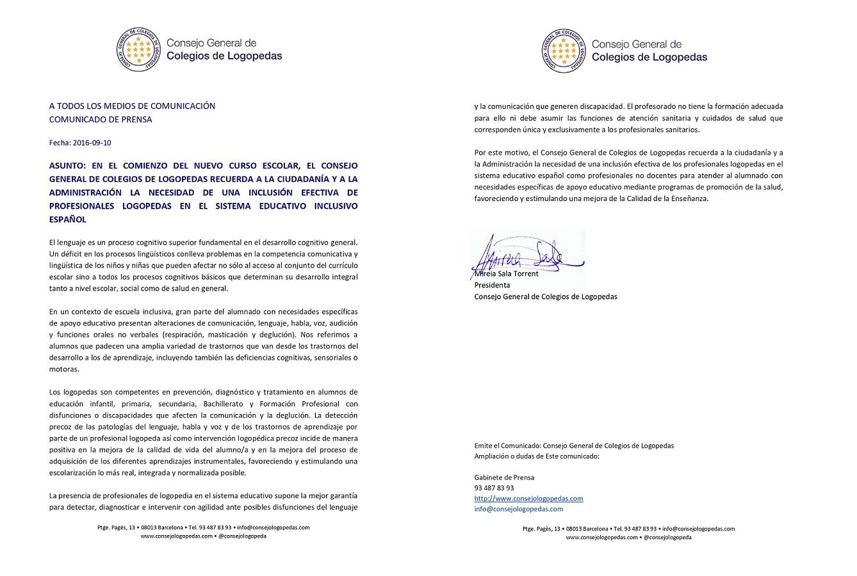 COMUNICADO DEL CONSEJO GENERAL DE COLEGIOS DE LOGOPEDAS EN EL INICIO DEL CURSO ESCOLAR