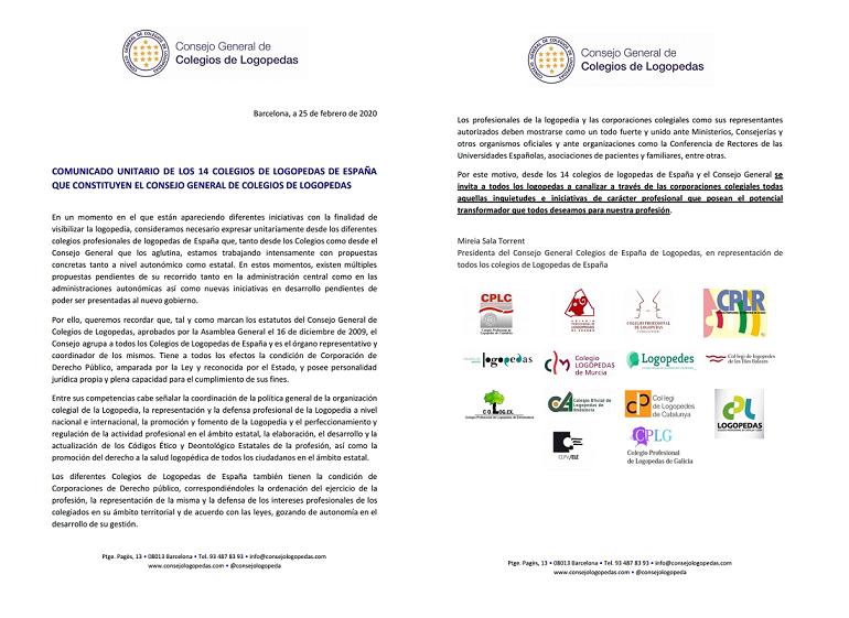 COMUNICADO UNITARIO DE LOS 14 COLEGIOS DE LOGOPEDAS DE ESPAÑA QUE CONSTITUYEN EL CONSEJO GENERAL DE COLEGIOS DE LOGOPEDAS