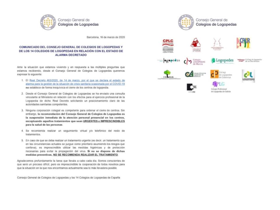 COMUNICADO DEL CONSEJO GENERAL DE COLEGIOS DE LOGOPEDAS Y DE LOS 14 COLEGIOS DE LOGOPEDAS EN RELACIÓN CON EL ESTADO DE ALARMA DECRETADO