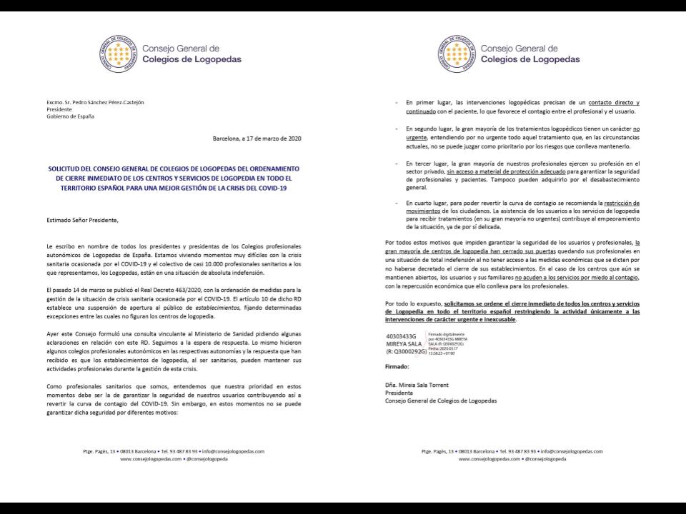 EL CONSEJO GENERAL DE COLEGIOS DE LOGOPEDAS SOLICITA AL PRESIDENTE DE GOBIERNO EL CIERRE DE TODOS LOS CENTROS Y SERVICIOS DE LOGOPEDIA