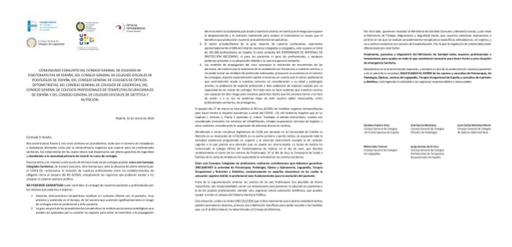 COMUNICADO CONJUNTO DE SEIS CONSEJOS COLEGIALES SANITARIOS