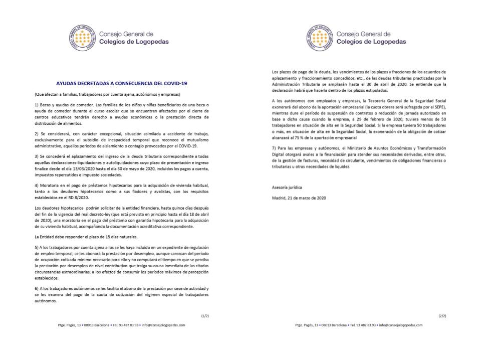 AYUDAS DECRETADAS A CONSECUENCIA DEL COVID-19