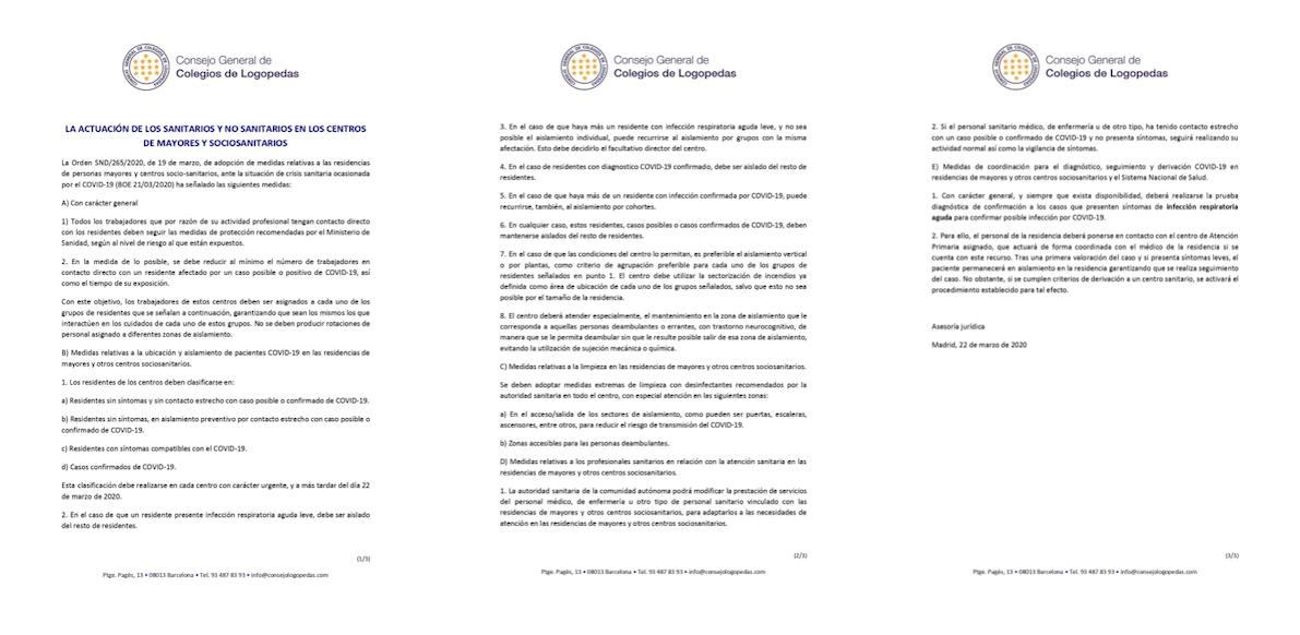 LA ACTUACIÓN DE LOS SANITARIOS Y NO SANITARIOS EN LOS CENTROS DE MAYORES Y SOCIOSANITARIOS