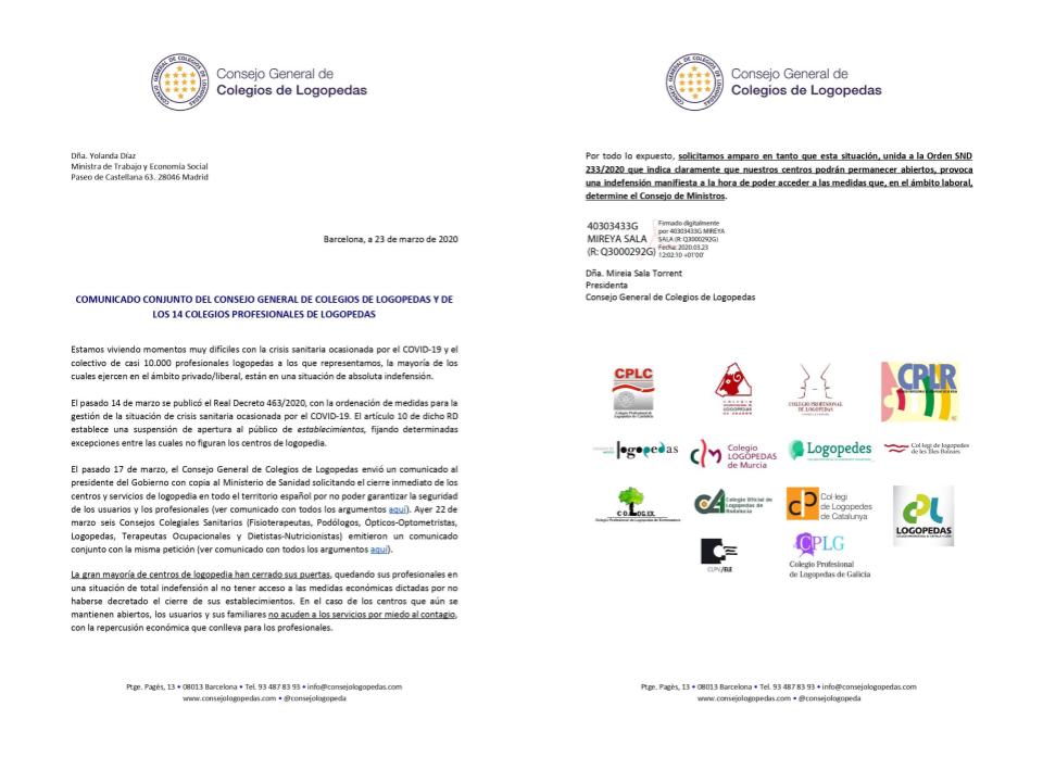 COMUNICADO CONJUNTO A LA MINISTRA DE TRABAJO Y ECONOMÍA SOCIAL