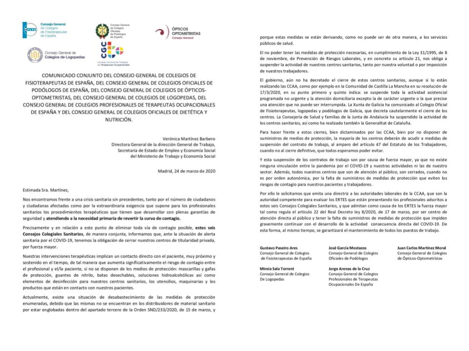 COMUNICADO CONJUNTO DE SEIS CONSEJOS COLEGIALES SANITARIOS A LA DIRECCIÓN GENERAL DE TRABAJO