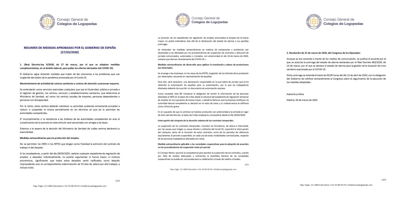 RESUMEN DE MEDIDAS APROBADAS POR EL GOBIERNO DE ESPAÑA (27/03/2020)