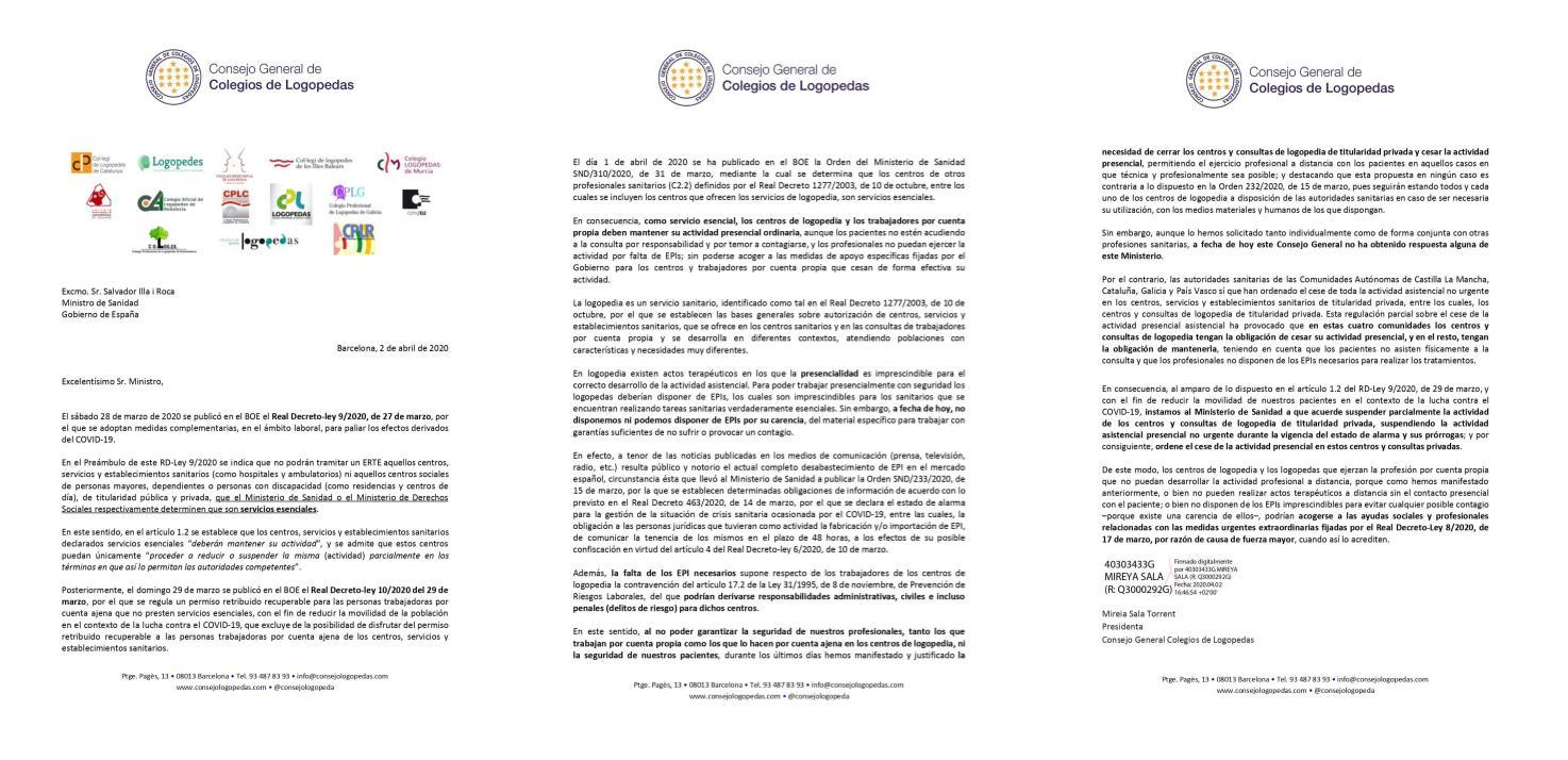 EL CONSEJO Y LOS 14 COLEGIOS DE LOGOPEDAS SOLICITAN DE NUEVO EL CIERRE DE CENTROS