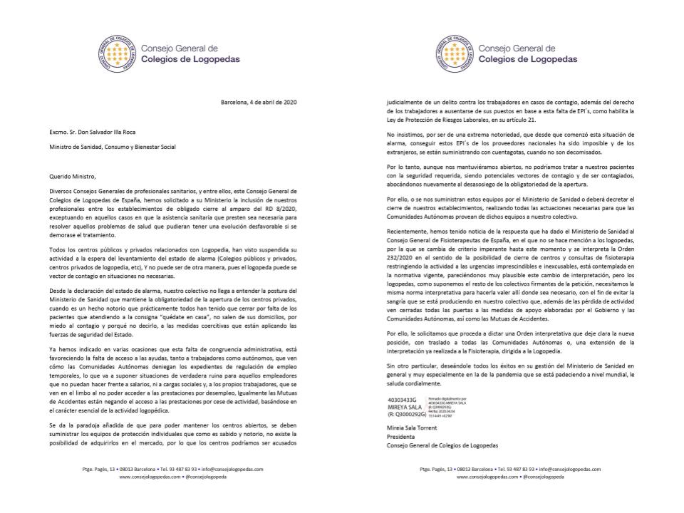 NUEVA CARTA DEL CONSEJO GENERAL DE COLEGIOS DE LOGOPEDAS AL MINISTRO DE SANIDAD