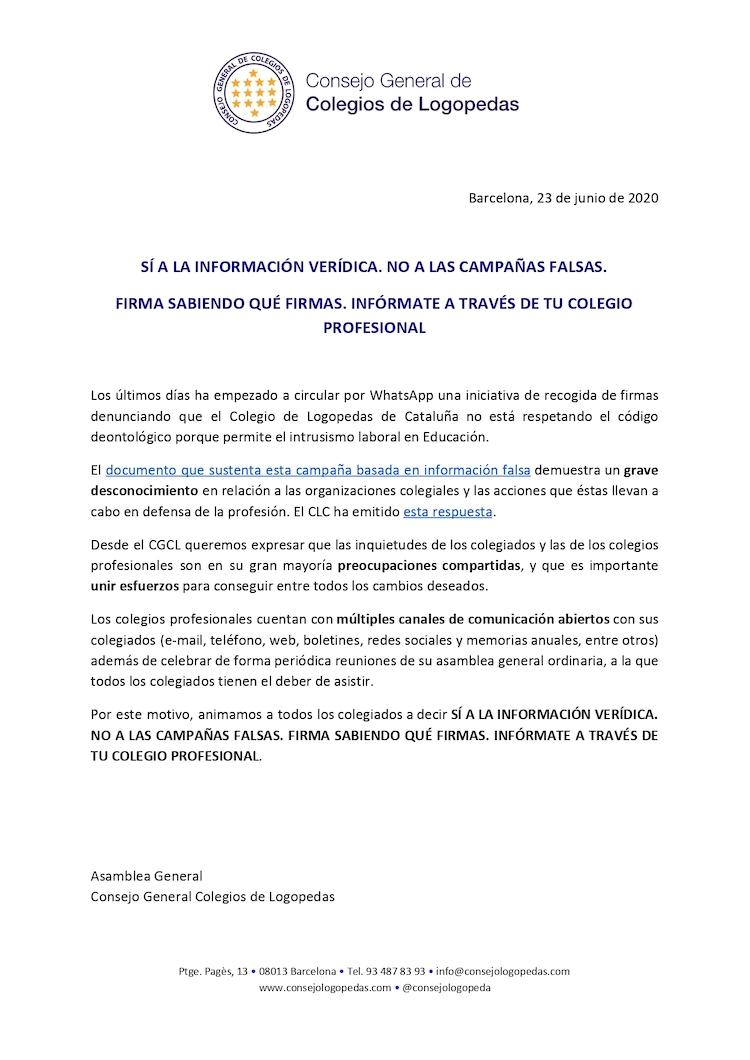 SÍ A LA INFORMACIÓN VERÍDICA. NO A LAS CAMPAÑAS FALSAS
