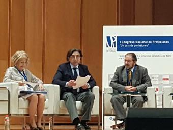 Mesa de debate 'Elementos esenciales de una profesión colegiada' del I Congreso Nacional de Profesiones celebrado por Unión Profesional